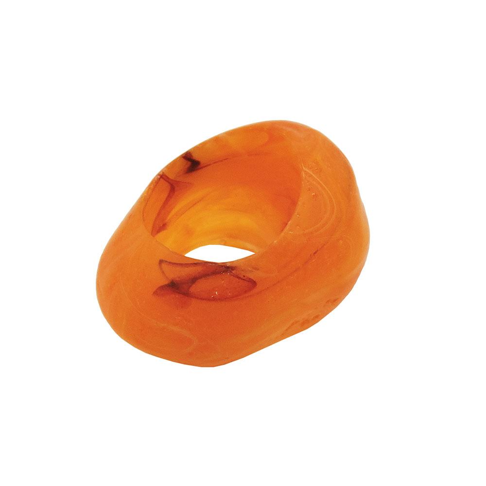 Tuchring 33x25mm Kunststoff Ringperle unrund 17mm-Loch orange-marmoriert matt