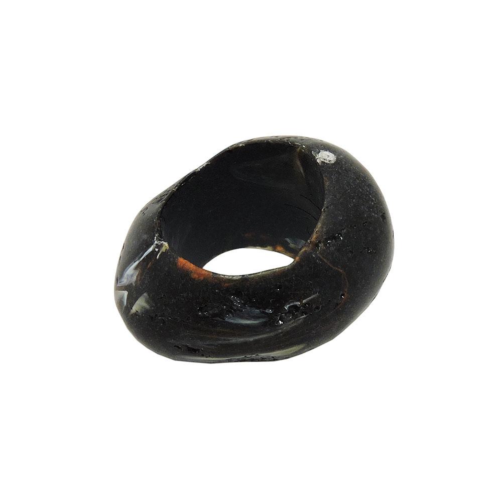 Tuchring 33x25mm Kunststoff Ringperle unrund 17mm-Loch schwarz-marmoriert matt