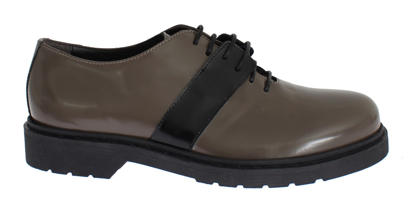 AI_ Gray Brown Leather Laceups Shoes