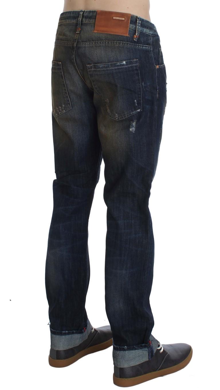 ACHT Blue Wash Cotton Regular Straight Fit Jeans
