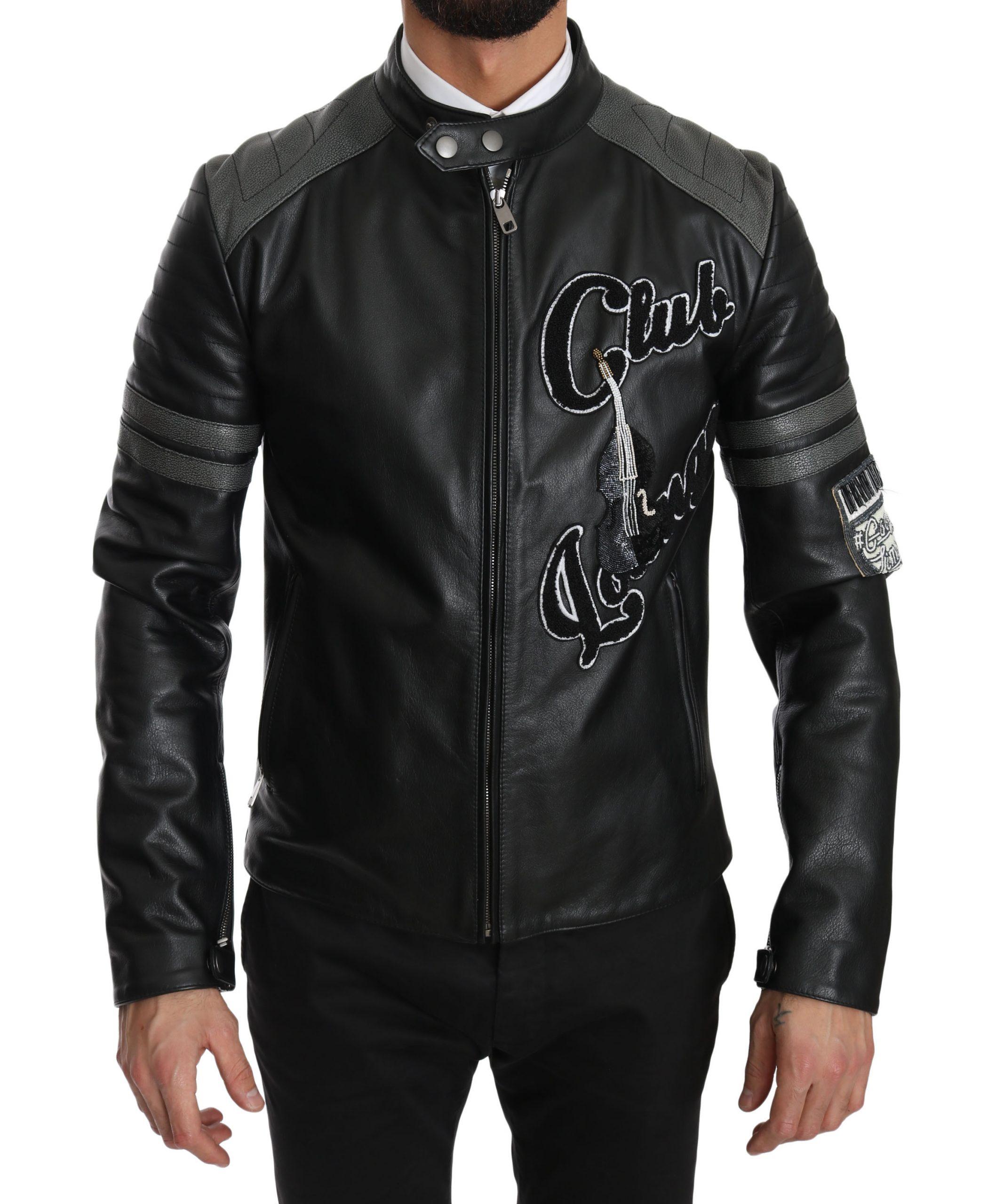 Dolce & Gabbana Black Leather Bullskin Club Bomber Jacket - Size: IT48 | M