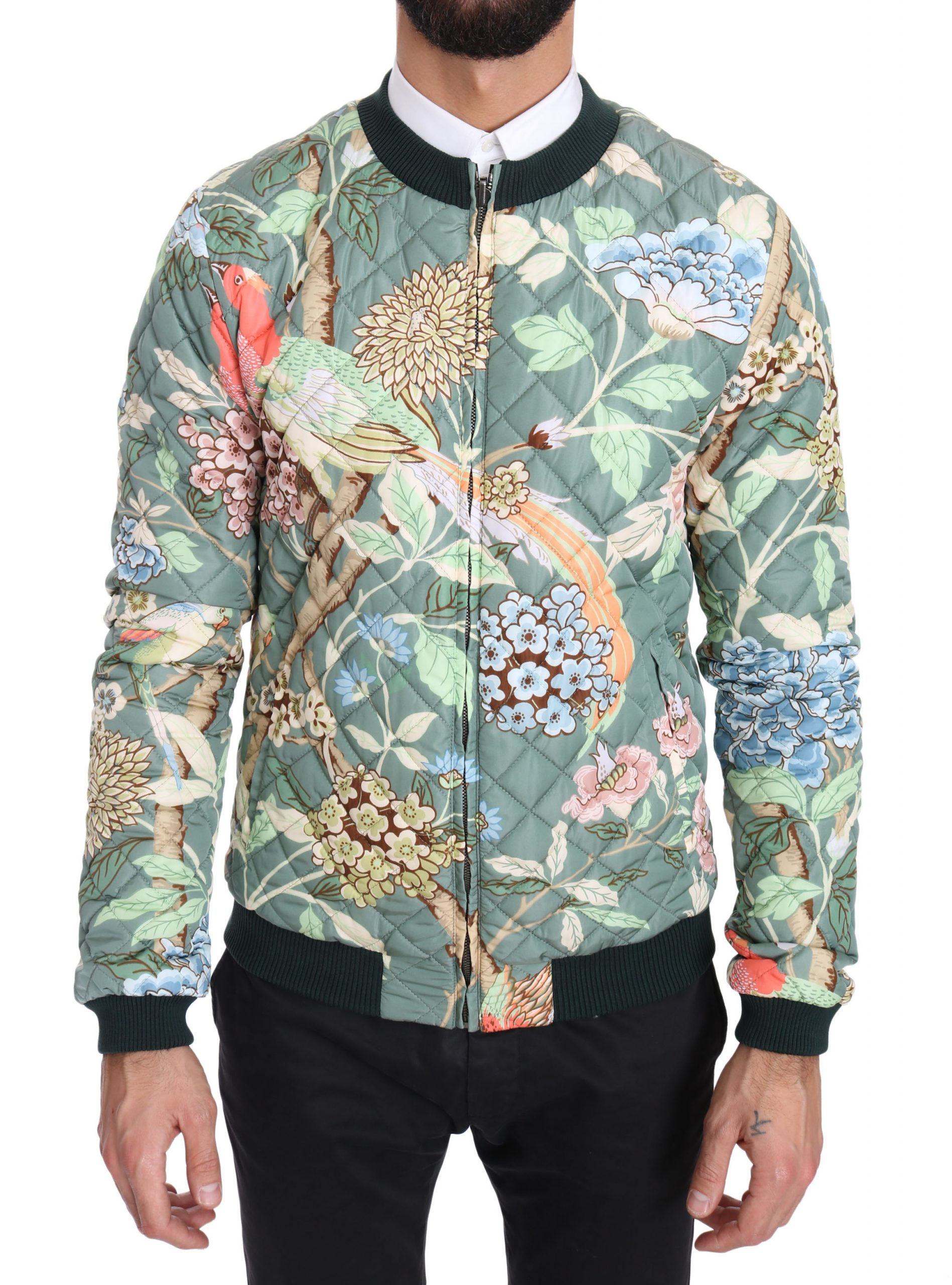 Dolce & Gabbana Green Quilted Reversible Bomber Jacket - Size: IT48 | M