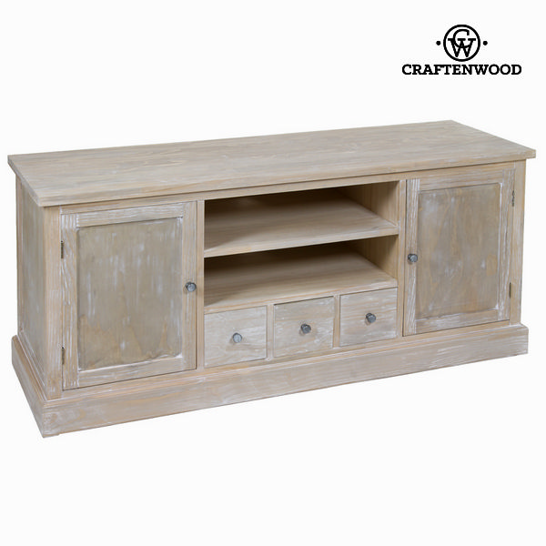 tv tisch kiefernholz mdf paulonia holz 150 x 50 x 66 cm natural kollektion by craftenwood. Black Bedroom Furniture Sets. Home Design Ideas