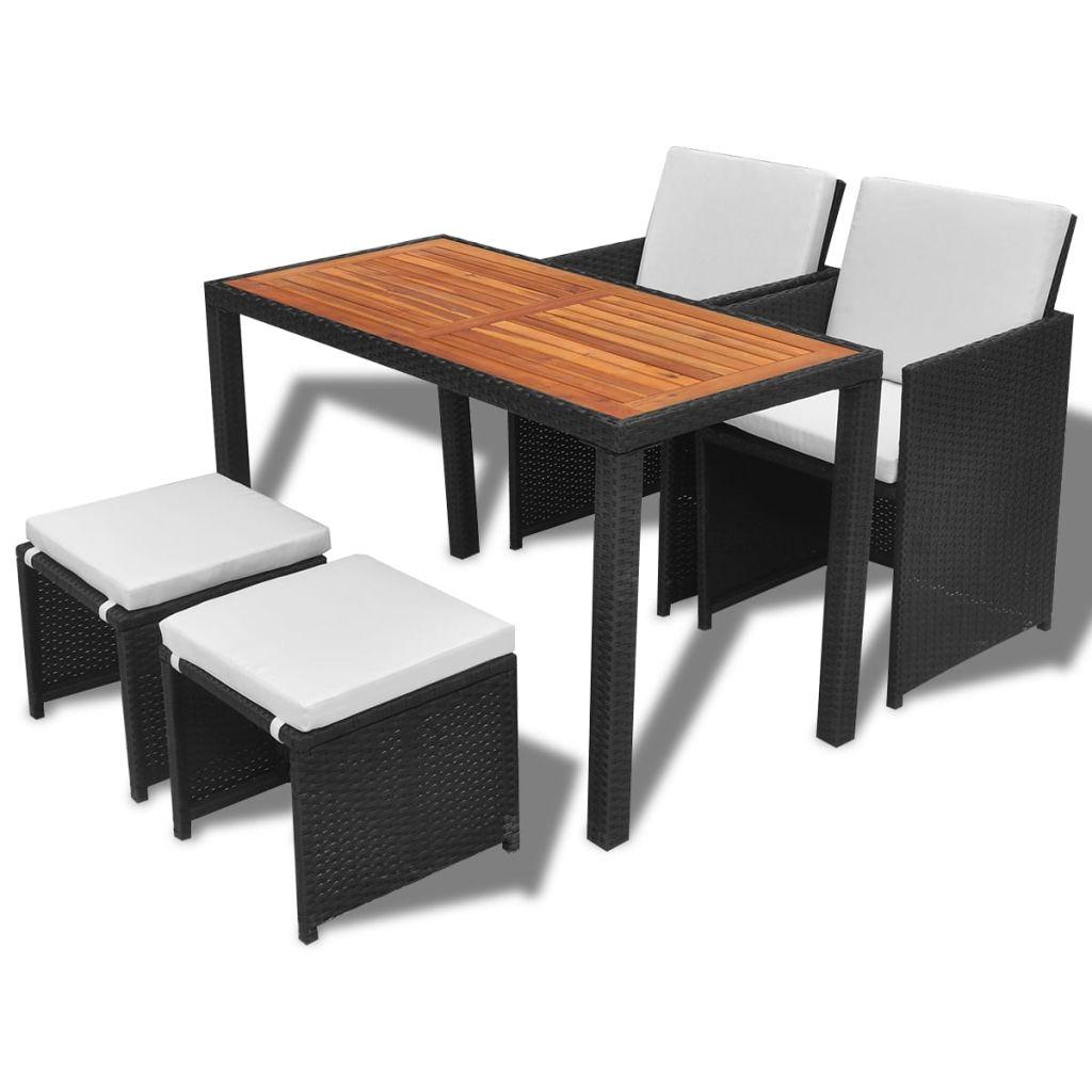 vidaxl garten essgruppe 11 tlg schwarz poly rattan akazienholz. Black Bedroom Furniture Sets. Home Design Ideas