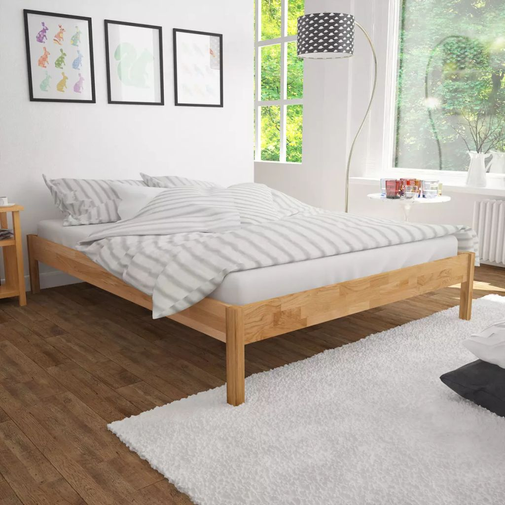 vidaxl doppelbett mit matratze massive eiche 140x200 cm. Black Bedroom Furniture Sets. Home Design Ideas
