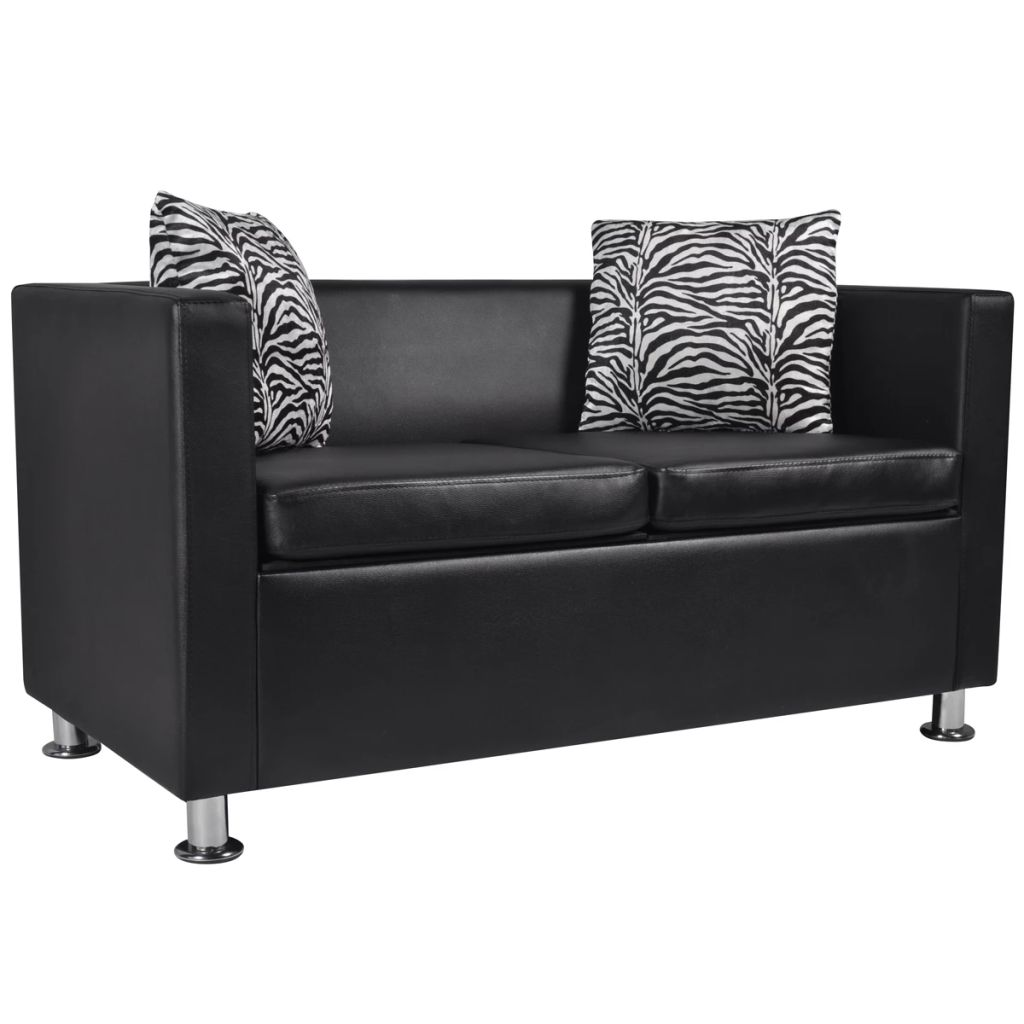 vidaxl sofa 2 sitzer kunstleder schwarz. Black Bedroom Furniture Sets. Home Design Ideas