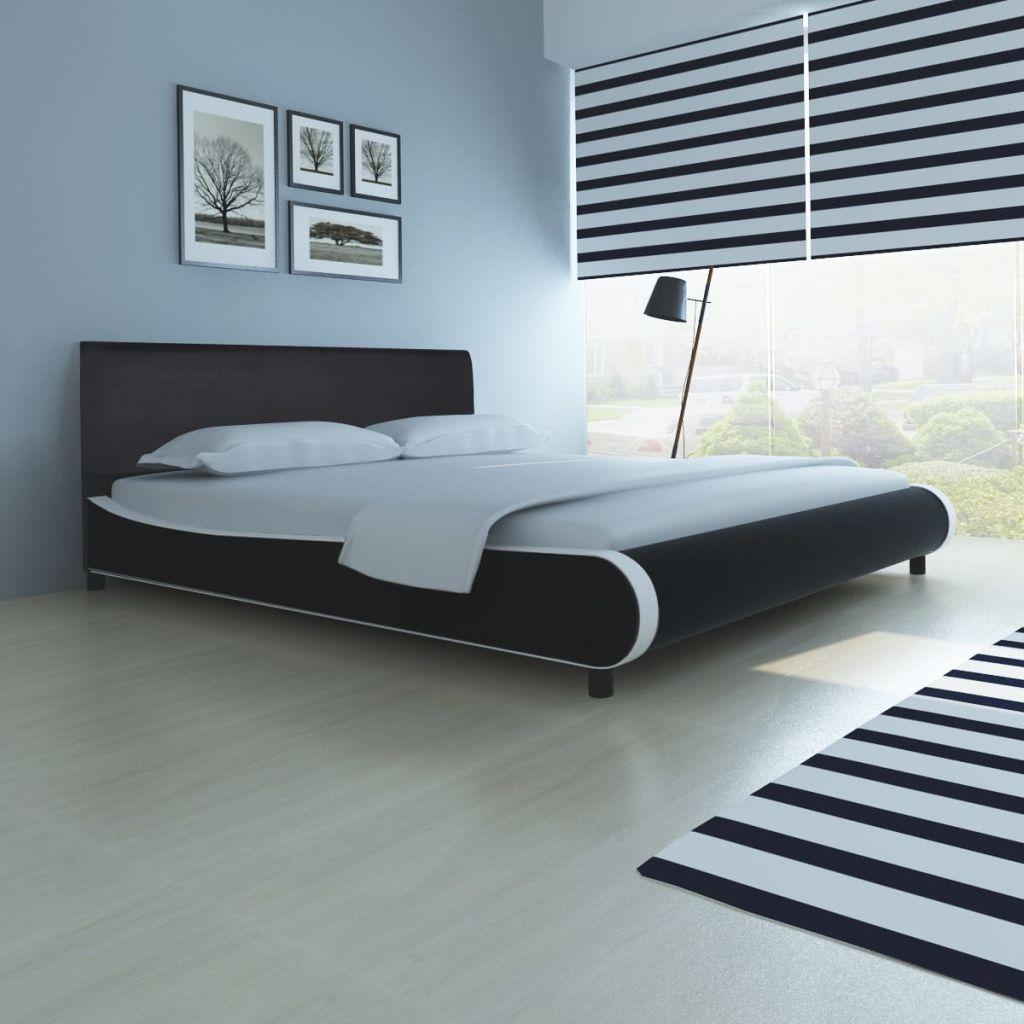 vidaxl bett mit memory schaum matratze kunstleder 180 x 200 cm schwarz. Black Bedroom Furniture Sets. Home Design Ideas